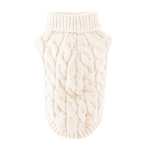 iFCOW hond trui, huisdier hond coltrui breien trui warm trui breigoed bovenkleding, S, Kleur: wit