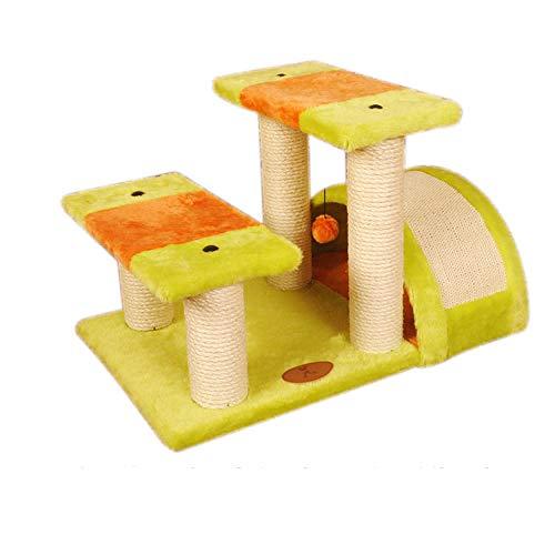 LIUKLAI Luxus zylindrische Katze springen Plattform Kratzbaum Katze Kratzbrett Katze Kratzbaum Sisal Schleifklaue Katze Kletterrahmen Katze Spielzeug-Doppelplattform Katze Kletterrahmen