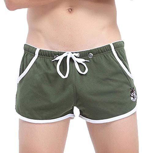 HaiDean Herren Running Pocket Shorts Lässig Modernas Unter Boxer Wärmen Sche Unterhose Atmungsaktive Briefs Boxershorts Panties (Color : Armeegrün, Size : L)