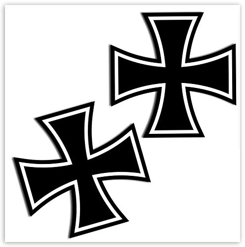 SkinoEu® 2 x PVC Laminado Pegatinas Adhesivos Símbolo Religioso Cristiano Cruz de Hierro Iron Cross Negro para Autos Coches Motos Ciclomotores Bicicletas Ordenador Portátil Regalo B 54