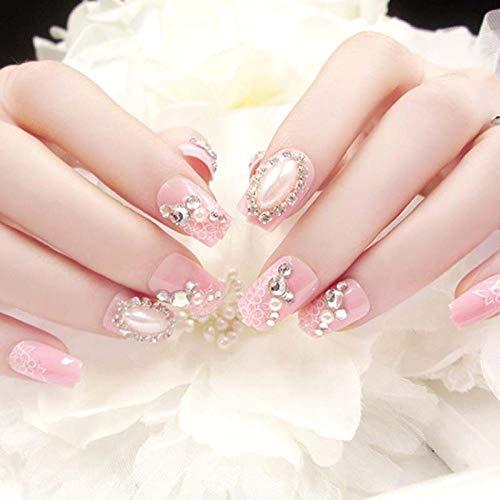 CLOAAE Pink flower printing artificial nails girl simulation pearl decoration fake nails bride fashion shiny rhinestone fake nails