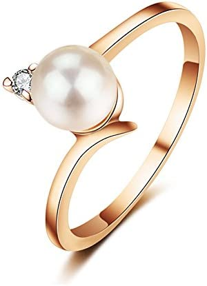 JewelryPalace Created Pearl Wedding Rings for Women Jewelry with AAA Cubic Zirconia Rose Gold Color Crystal Engagement Rings Female Anel (7.5)