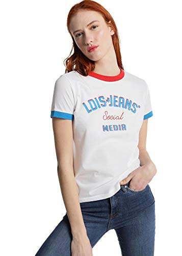 LOIS JEANS - Camiseta con Bandas de Color para Mujer   De Algodón   Tallaje en Pulgadas   Talla Inch - XS