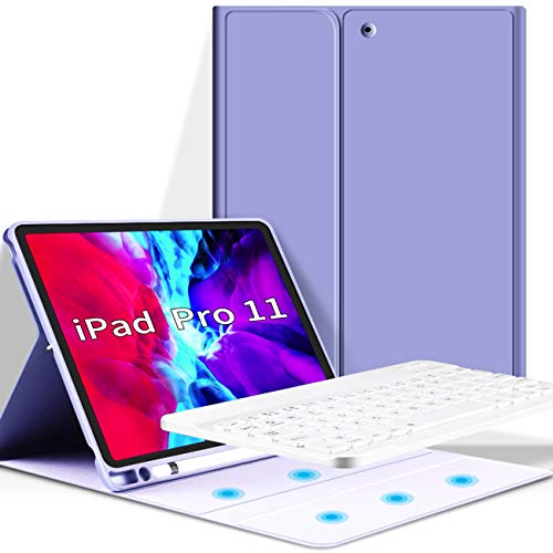 KenKe iPad Pro 11 2020 & iPad Pro 11 2018 Keyboard Case with Pencil Holder, Wireless Detachable Bluetooth Keyboard Cover Flip Stand Keyboard Soft back Cover for New iPad Pro 11 inch case - Purple