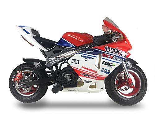 SYX MOTO Apex Pull Start 49cc 2-Stroke Gas Powered Kids Mini Pocket Bike, Off-Roading Rocket Motorcycle,Red/White/Blue