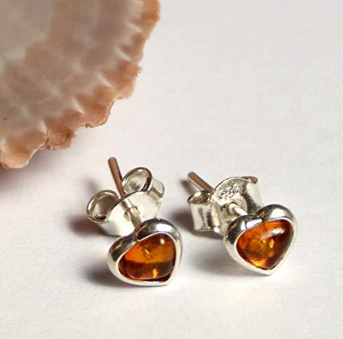 MJ Baltica Pendientes artesanales de plata 925 y ámbar natural corazones BK016