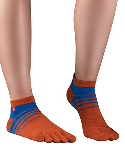 Knitido Track&Trail Spins Sneaker Socken Herren, Zehensocken für Sport und Zehenschuhe, Größe:43-46, Farbe:orange / blau (902)