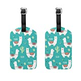 Set of 2 Travel Luggage Tags Llama Alpaca Leather Bag Tags Suitcase Baggage Tag Handbag Tag with Full Back Privacy Cover