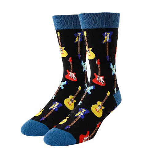 HAPPYPOP Funny Guitar Socks for Men Novelty Music Gifts for Guitar Players