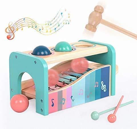 BeebeeRun Primeras Melodías Juguete de Martillo de Madera y Xilófono, Banco para Niños de Madera, Juguetes Musicales para Niños y Niñas.