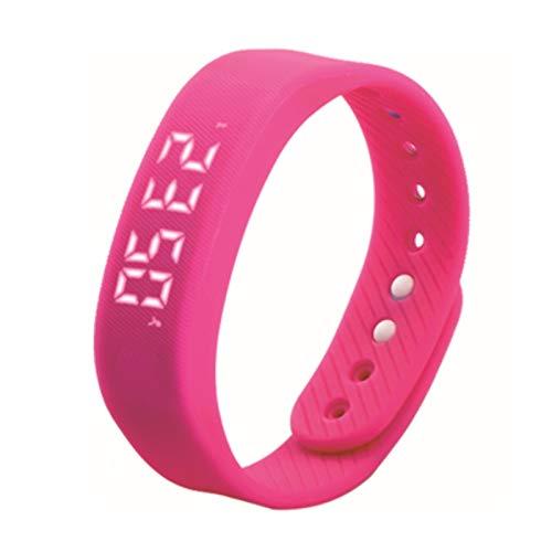 Smart Bransoletka Krok 3D Inteligentny Miernik Zegarek Kobiety Sport LED Data Zegarki Nadgarstek PK TW64 W5 W2 (Color : Pink)