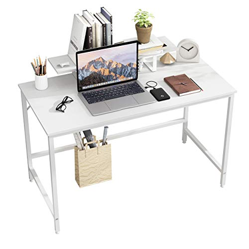 JOISCOPE Escritorio para computadora, Escritorio para computadora portátil con Estante, Escritorio de Estudio de Estilo Industrial para Oficina en casa, 47 Pulgadas (Acabado Blanco)