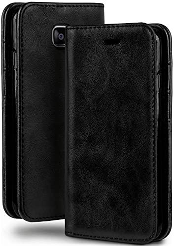moex Booklet in Lederoptik - Kartenfächer und Aufstellfunktion kompatibel mit Samsung Galaxy Xcover 4   Eleganter 360 Grad Vollschutz, Schwarz