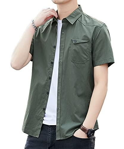 シャツ メンズ 半袖 カジュアル 無地 オックスフォード シャツ メンズ カジュアル コットン 夏 シャツ メンズ (L, グリーン)