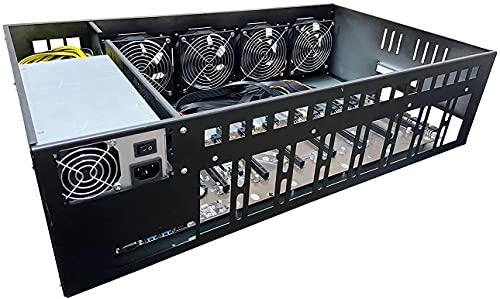 MINEBOX 8 GPU ETH Ethereum Mining Rig with Intel CPU, RAM, SSD, 2500W Power Supply(118V-240V), Stronger Frame, PSU Internal, Win10 Home System Pre Installed