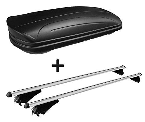 VDP Dachbox schwarz matt MAA320M günstiger Auto Dachkoffer 320 Liter abschließbar + Alu-Relingträger Dachgepäckträger aufliegende Reling im Set kompatibel mit Opel Astra Sporttourer ab 10