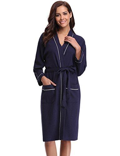 Aibrou Damen Baumwolle Sommer Bademantel Leicht Mantel Morgenmantel V Kragen Waffel Typ Saunamantel Frottee dunkelblau XL