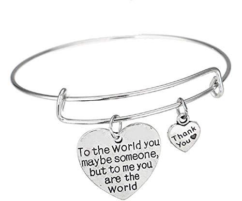 Armband - gravure - dames - hart met toewijding - liefde - voor mij ben jij de wereld - dankzij jullie juwelen thank you to the world you maybe someone but to me you are the world bangle