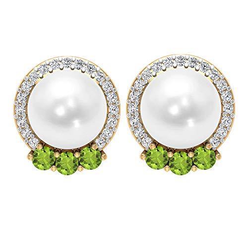 Rosec Jewels 14 quilates oro amarillo redonda White Green Perla de agua dulce Peridoto/Olivino Diamond