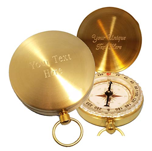 Stanley London Personalized Wilderness Scouting Brass Pocket Compass | Engraved Gift for Husband, Son, Scouts, Camping, Hiking (Front and Inside)