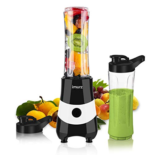Smoothie Blender for Shakes and Smoothies Fruit Vegetable Drink, 300W Powerful Personal Smoothie Maker with 2 x 20oz BPA Free Portable Sports Bottles - Black