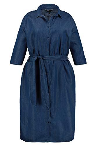 Ulla Popken Damen Hemdblusenkleid mit Bindeband Kleid, Blau (Dark Denim 93), (Herstellergröße: 42+)