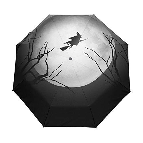 Yuzha paraplu, gelukkig, Halloween, heks, draagbaar, personaliseerbaar, inklapbaar, paraplu, paraplu, unieke paraplu