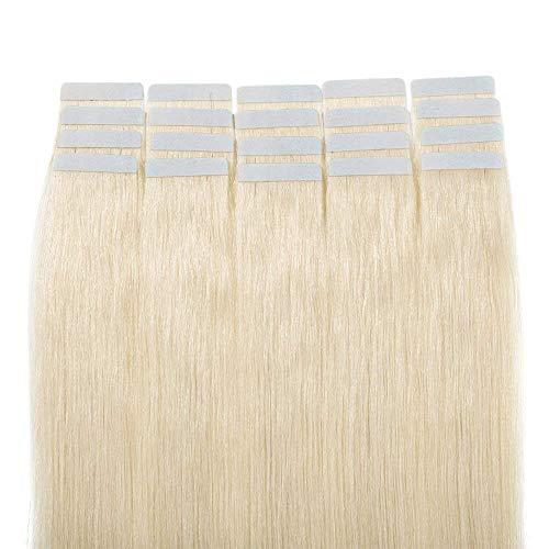 Tape Extensions Echthaar 50g - Haarverlängerung 100% Echthaar Extensions Tape In glatt #60 Platinum Blonde 55cm