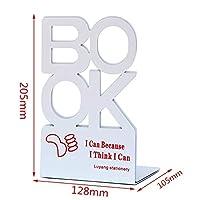 Yadianna 1ペアブックエンドスクールメタルスタンド文房具オフィスデスクトップサポートポータブルアンチスキッドユニバーサルオフィスホルダーオーガナイザーレター (Color : 205mm white)