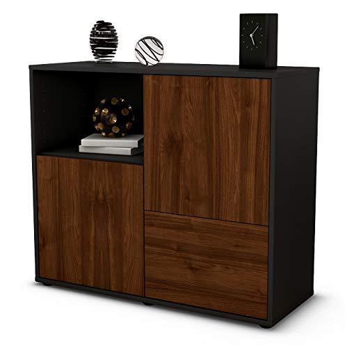 Stil.Zeit Sideboard Carina/Korpus anthrazit matt/Front Holz-Design Walnuss (92x79x35cm) Push-to-Open Technik