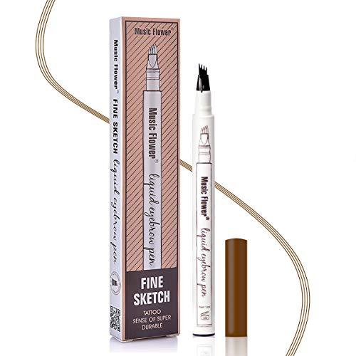 Stylo à Sourcils Étanche - Crayon à Sourcils Microblading Imperméable Avec Pointes Imperméable, Longue Tenue Pour Un Maquillage Naturel Des Sourcils(Châtaigne)