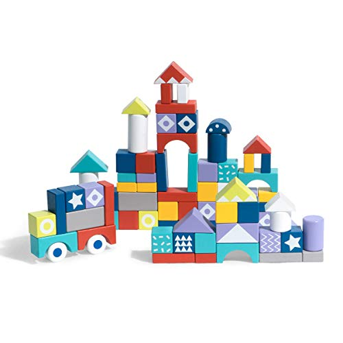 ROBUD Wooden Building Blocks Set for Toddlers Kids Montessori Toy Gift for Boys and Girls Ages 18 Years Old  60 PCS