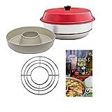 Omnia Backofen 4-teiliges Spar-Set | Backofen + Silikon-Backform Beige + One-Pot, Aufläufe & Gratins Kochbuch + Aufbackgitter