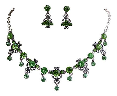 Trachtenschmuck Dirndl Ornament Kristall Collier Set - Kette und Ohrringe - Peridot grün - hellgrün - Apfelgrün