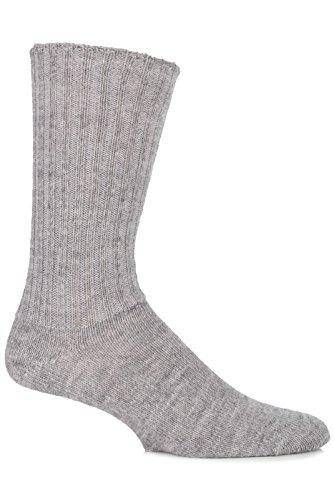 SockShop of London Herren 1 Paar Alpaca Gentle Grip Gerippte Wahre Socken 4-7 Unisex Natural Grey