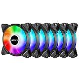 Novonest 120mm 3PIN PCケースファン AURA Sync対応 5V 3PIN ARGB 静音タイプ 25mm厚 6本1セット【T3SYC3-6】