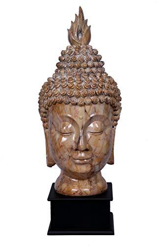 RV XPRESS Home Brown Big Size Buddha Head Statue, Rustic Spiritual Buddha Bust/Calming Zen Meditation Statue