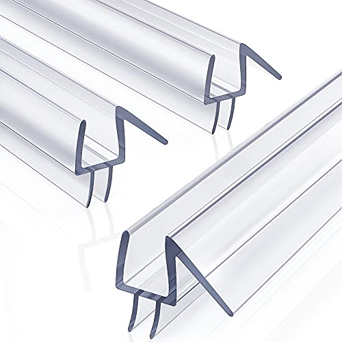 "3-Pack 3/8"" x 39"" Frameless Shower Door Bottom Seal - Shower Door Sweep - Glass Shower Door Seal Strip - Stop Shower Leaks and Create a Water Barrier"