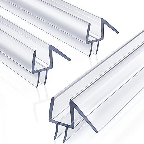 3-Pack 3/8' x 39' Frameless Shower Door Bottom Seal - Shower Door Sweep - Glass Shower Door Seal Strip - Stop Shower Leaks and Create a Water Barrier