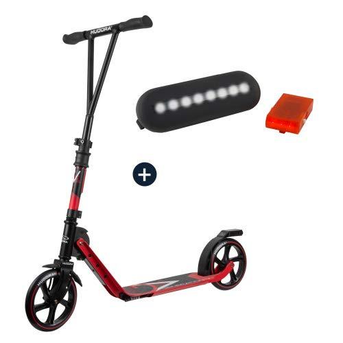 HUDORA BigWheel® Generation V 205, Scooter rot mit Sicherheitspaket LED Licht Rücklicht Tretroller Kickroller Cityroller Roller