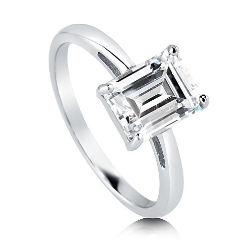 BERRICLE Rhodium Plated Sterling Silver Emerald Cut Cubic Zirconia CZ Solitaire Engagement Ring 2.1 CTW Size 7.5