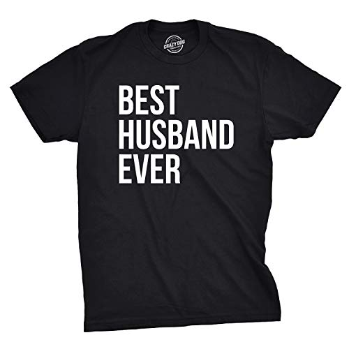 Mens Best Husband Ever T Shirt Funny Saying Novelty Tee Gift for Dad Cool Humor (Black) - L