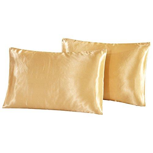 THEE 2pcs satinado almohada Funda de almohada Ropa de cama Queen Dorado