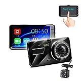 1080P HD se dobla lente 4 pulgadas registrador de la conducción, táctil IPS Screen Dash Cam 170 ° ancha Len, visión nocturna, G-sensor de bloqueo, la grabación en bucle, detección de movimiento, el mo