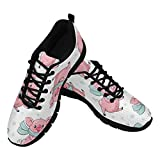 InterestPrint Cute Cartoon Pigs Dancing Women's Lightweight Athletic Casual Gym Sneakers US7