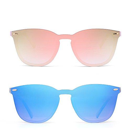 Gafas de Sol Sin Marco Una Pieza de Espejo Reflexivo Anteojos Para Hombre Mujer 2 Paquetes(Rosa&Azul)