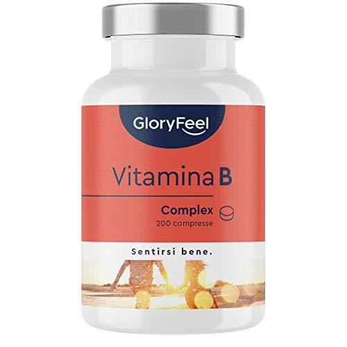 Vitamina B Complex Alto Dosaggio, 200 Compresse, Complesso Vitamine B contro Stanchezza & Stress Mentale, Vitamine B1 B2 B3 B5 B6 B7 (Biotina) B9 (Acido Folico) B12