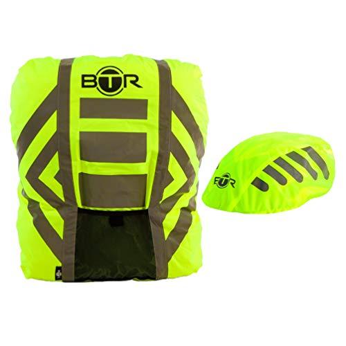 BTR Premium Regenschutz Rucksack Rucksacküberzug + Regenüberzug. Gelb. Mittelgroß Regenschutz Rucksack