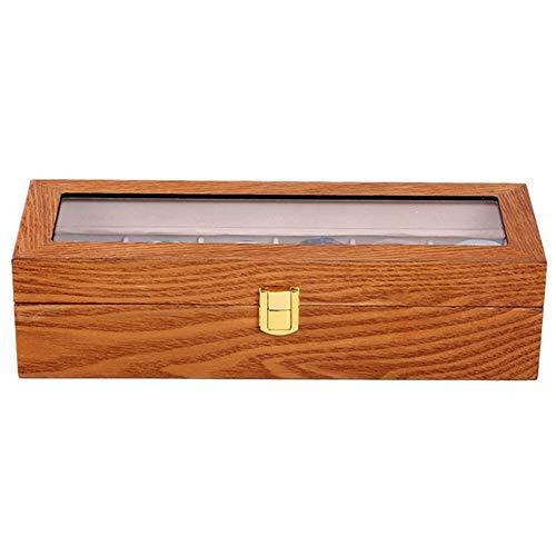 Haude Caja de exhibición de reloj de madera con 6 ranuras, tapa de cristal, organizador de joyas, color café