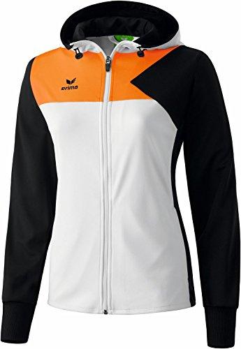 Erima Premium One Veste d'entraînement à Capuche Femme, Blanc/Noir/Orange Fluo, FR : M (Taille Fabricant : 38)